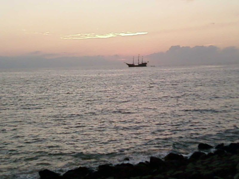Pirate Ship At Sunset